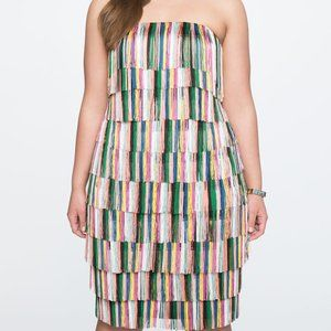Eloquii Rainbow Fringe Strapless Dress